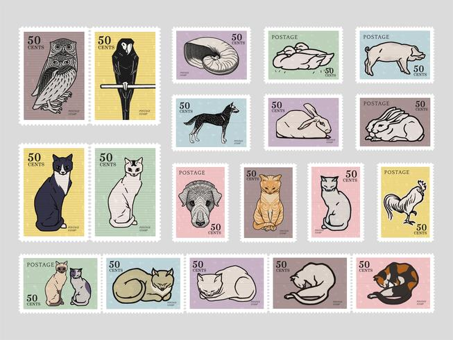 Set of stamps with various animals. Elements from the public domain, modified by rawpixel.