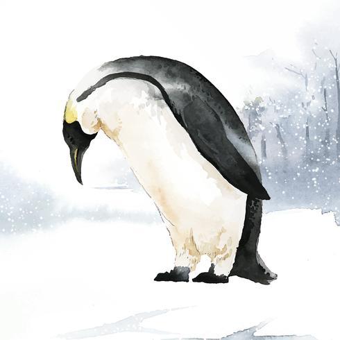 Kaiserpinguin im Schneeaquarellvektor