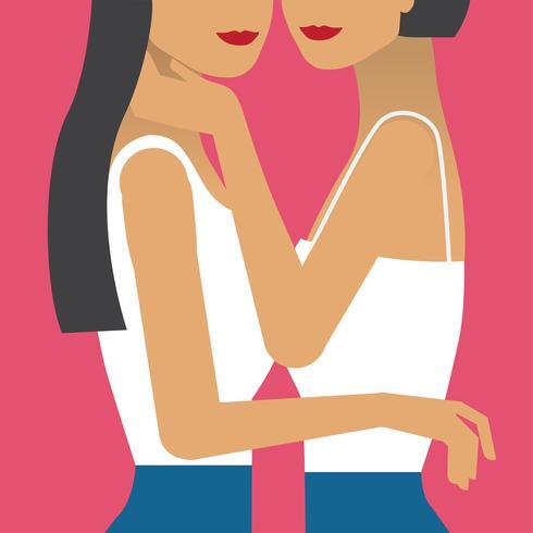 Twee meisjes verliefd illustratie