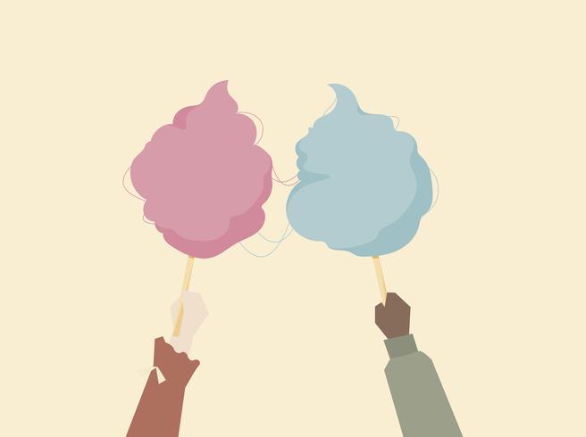 Ilustración de manos sosteniendo algodón de azúcar