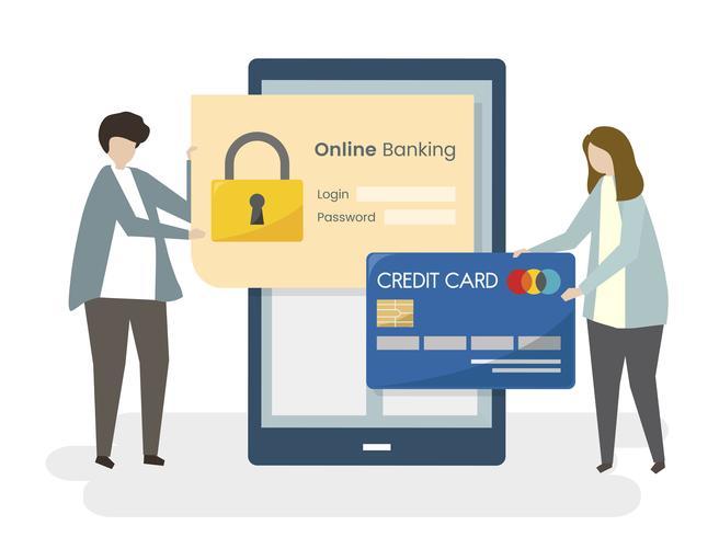 Couple sécurisant leurs services bancaires en ligne