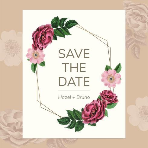 Spara datumet med blommig ram vektor