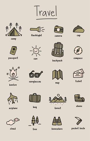 Style de dessin de la collection d'icônes de camping