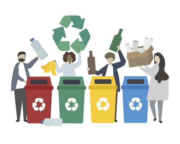 La gente verde che ricicla l'illustrazione residua
