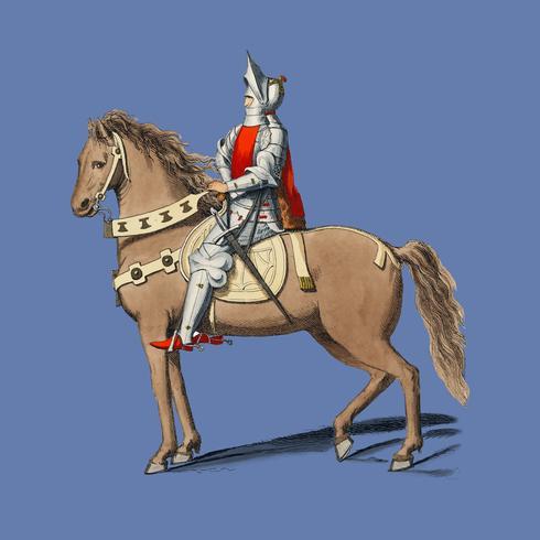 Traje Militaire Florentin, por Paul Mercuri (1860) um retrato de um cavaleiro a cavalo com armadura completa. Digitalmente aprimorada pelo rawpixel.