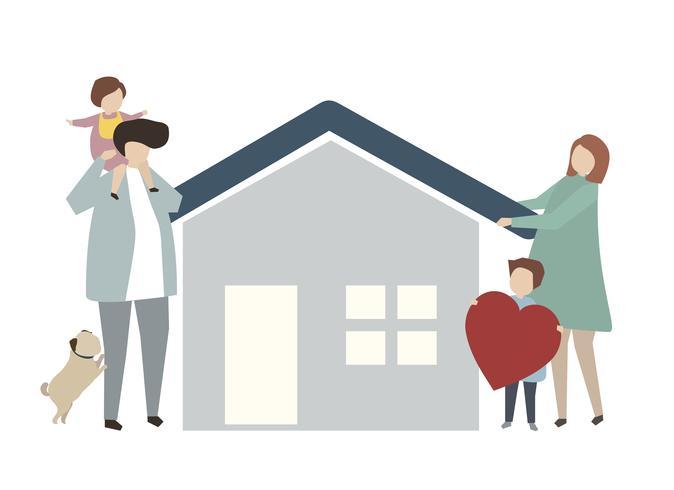 Famiglia felice davanti a un'illustrazione domestica