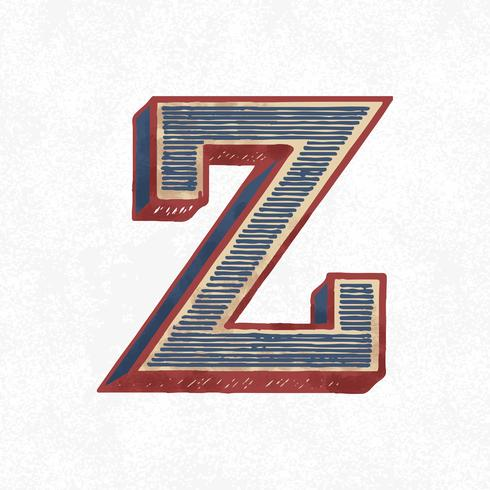 Huvudstämpel Z vintage typografi stil