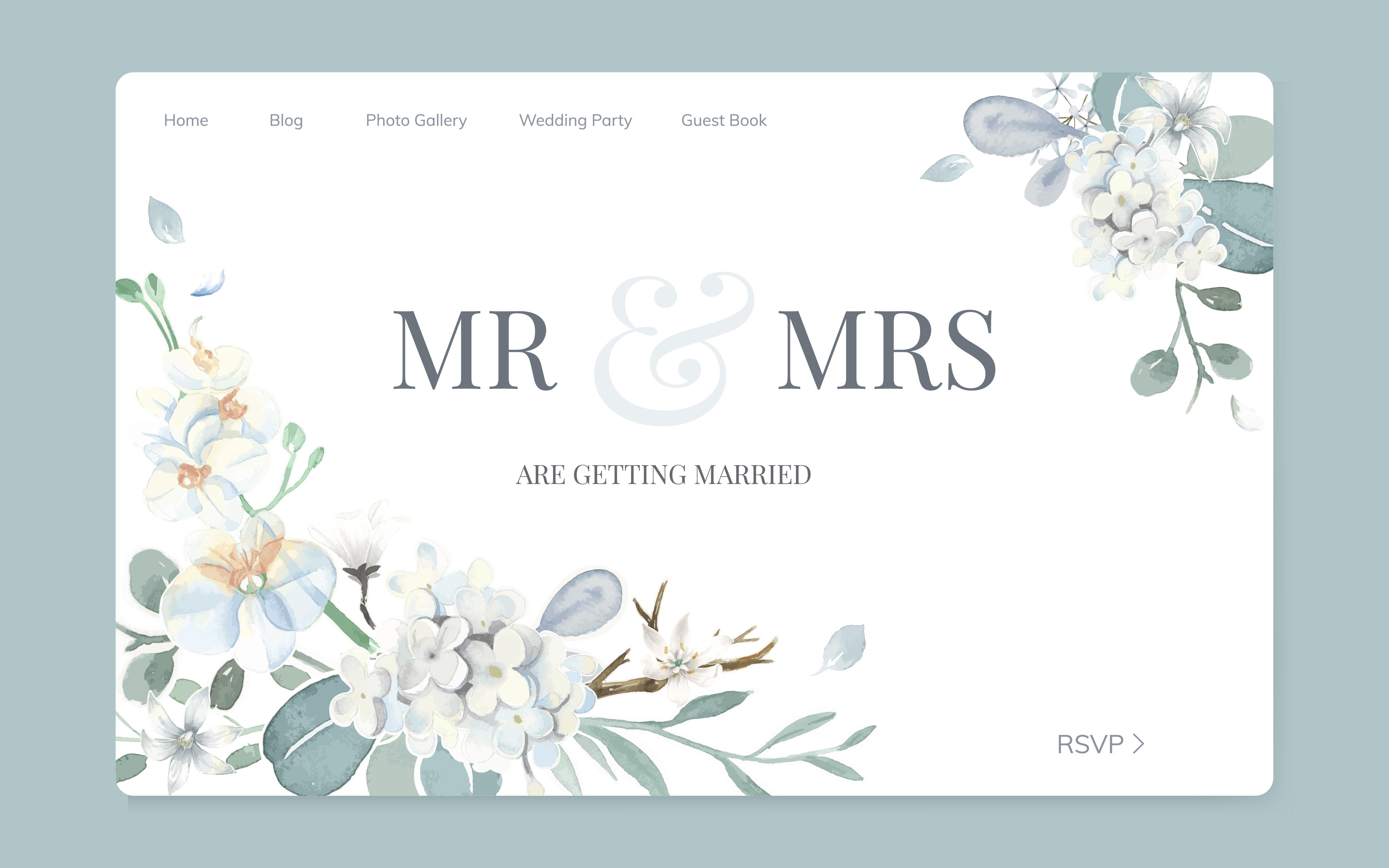Wedding Invitation Site: Floral Wedding Invitation Website Design