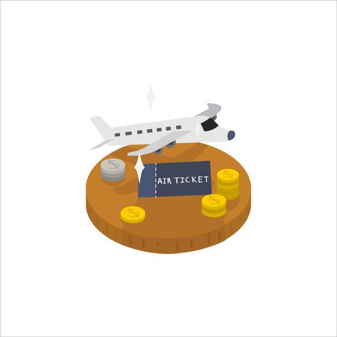 Illustration of a plane and travel ticket icon