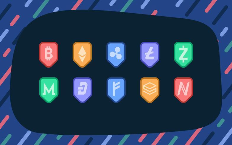Satz des elektronischen Bargeld-Symbolvektors der verschiedenen Kryptowährungen