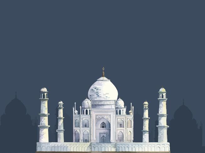 O Taj Mahal pintado por aquarela