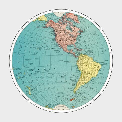 Emisfero occidentale, Atlante mondiale di Rand, McNally and Co. (1908) Miglioramento digitale di Rawpixel.