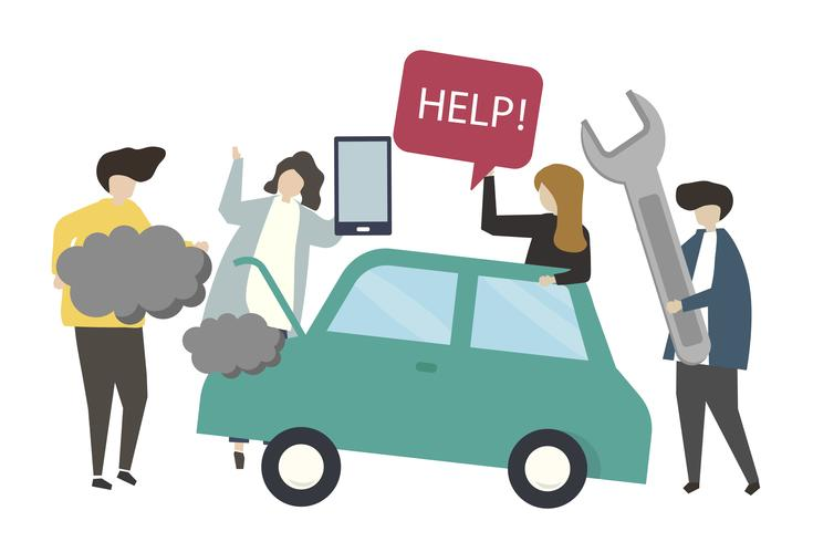 Illustration de concept de service de réparation de voiture