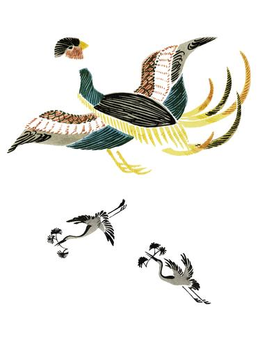 Illustration vintage de coq japonais