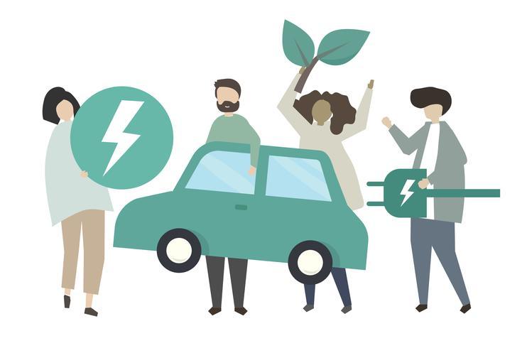 Teken mensen en eco-car pictogrammen