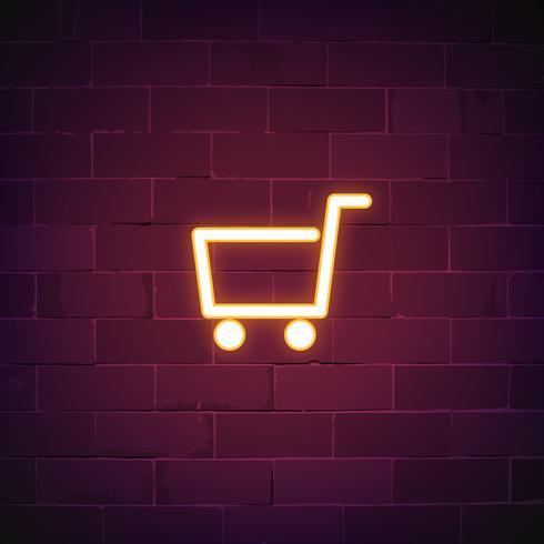 Winkelwagen neon teken vector