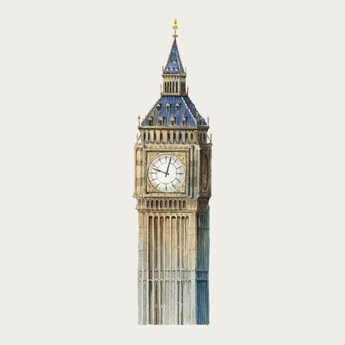 Big Ben à Londres illustration aquarelle