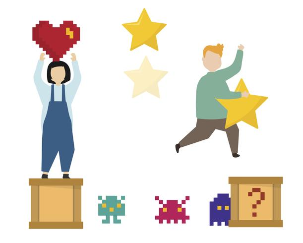 People with gaming icons illustration