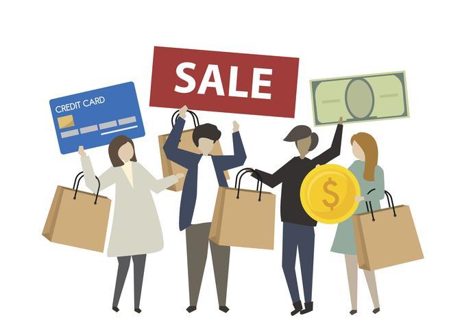 La gente che compera con l'illustrazione della carta di credito