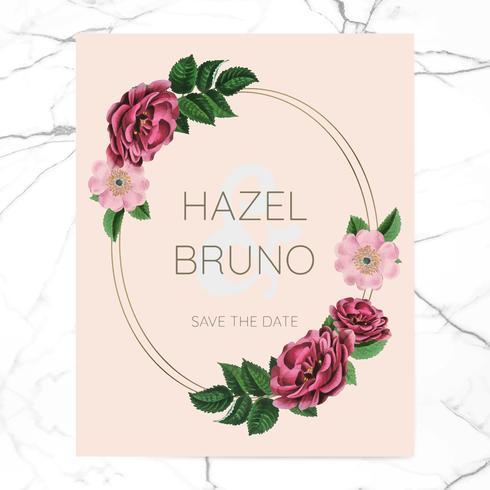 Huwelijksuitnodiging met bloemenframe ontwerpvector