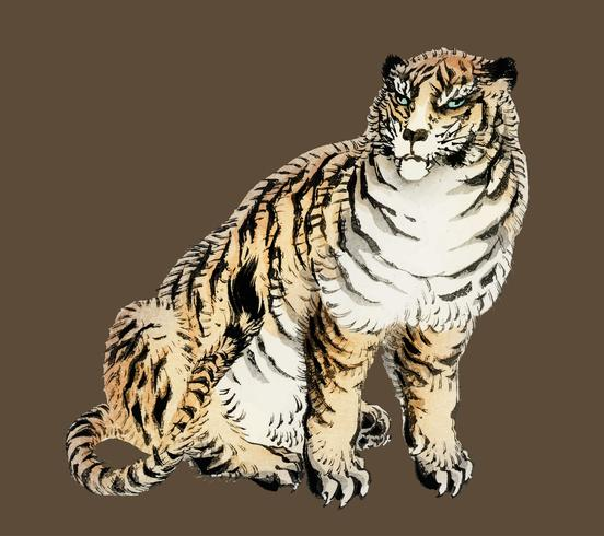Tiger by K?no Bairei (1844-1895). Digitally enhanced from our own original 1913 edition of Bairei Gakan.