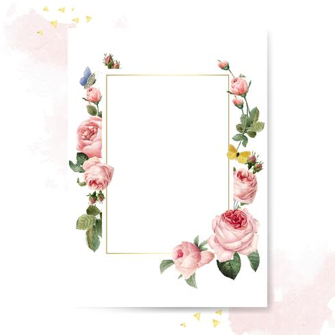 Blank rectangle pink roses frame card on pink and white background vector