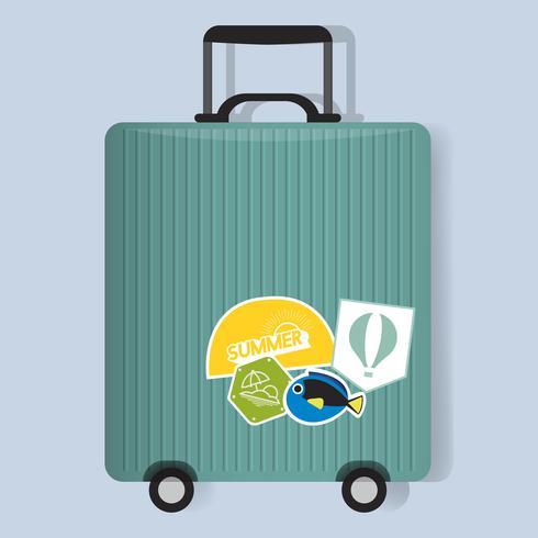 Equipaje de viaje verde equipaje con pegatinas ilustración vectorial