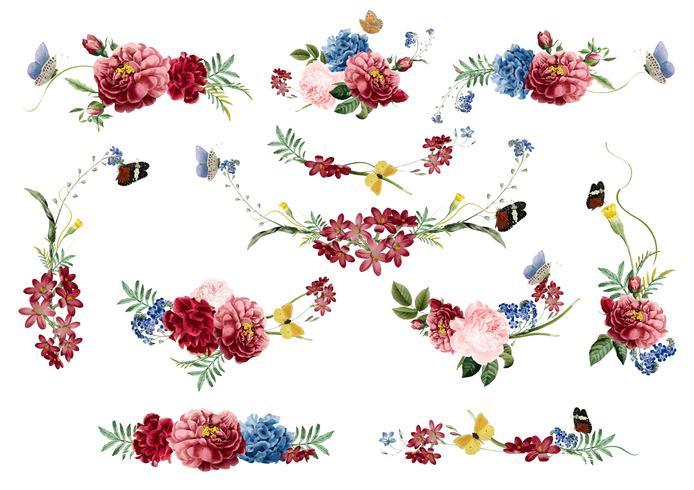 Handdragen blommor färgstarkt blommönster