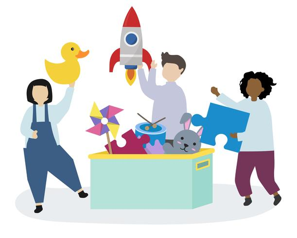 Happy kids with toys illustration