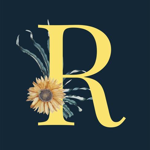 Letter R met bloemen