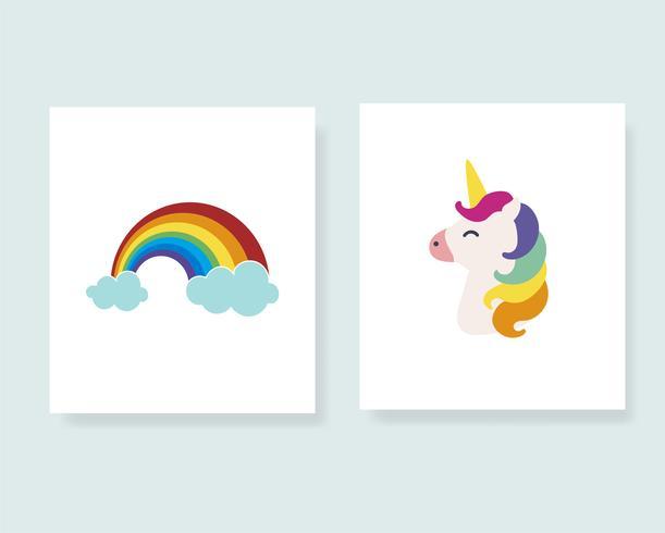 Ilustração de cartazes coloridos e fofos