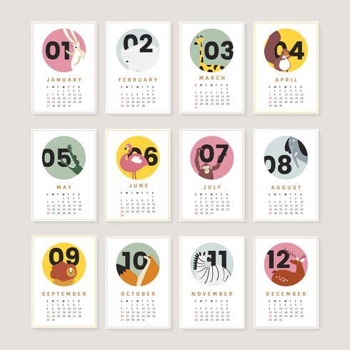 Leuk dierlijk kalendermodel