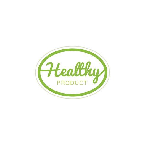 Ilustração de distintivo de emblema de selo produto saudável
