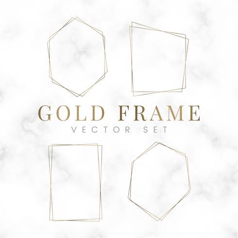 Goldener leerer Polygonrahmenvektorsatz