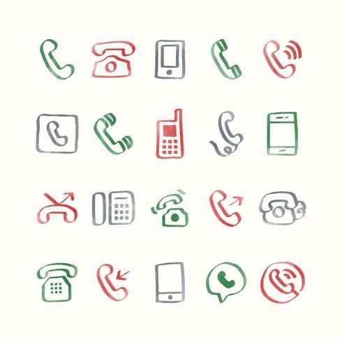 Illustration ensemble d'icônes de téléphone