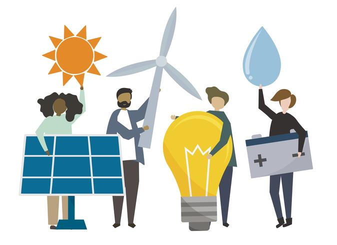 People holding sustainable energy concept icons illustration