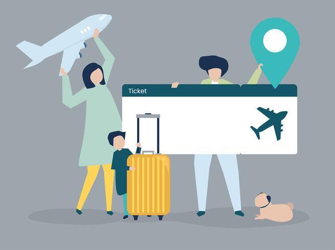 Personajes de personas con ilustración de iconos de viaje