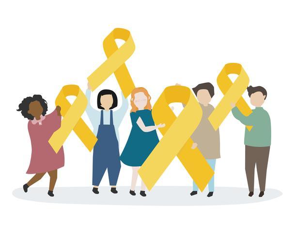 Personnes tenant un ruban jaune de sensibilisation