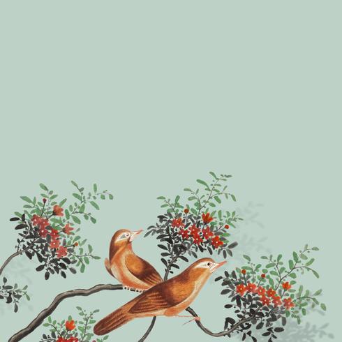 Chinees schilderij met twee vogels op een bloeiende boomtak kaart