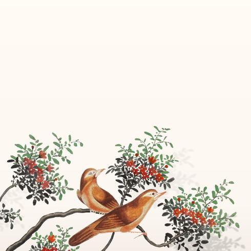 Chinese painting featuring two birds on a flowering tree branch card