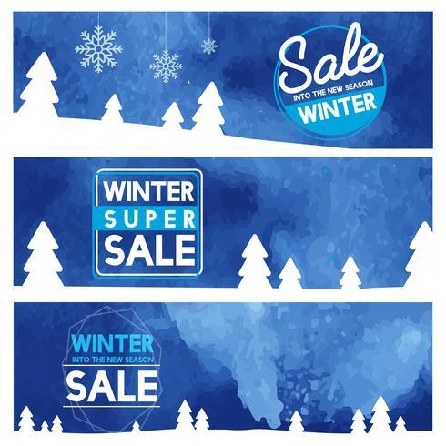 Set of winter sale banner vectors