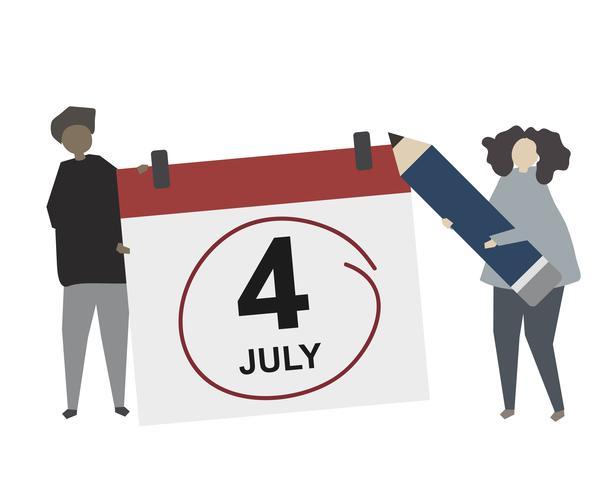 Calendário marcado ilustração do dia da independência americana