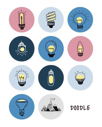 Vettore di un set di lampadine