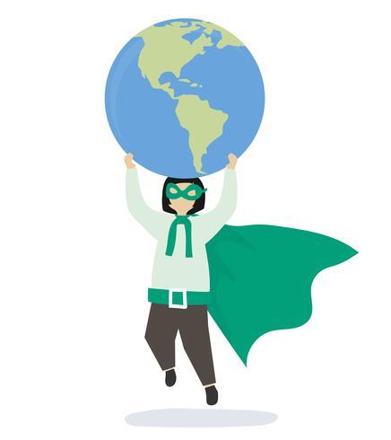 Superhero girl saving the world