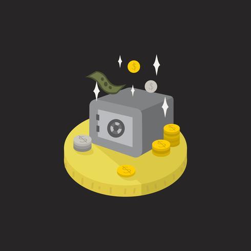 Ilustração, de, dinheiro, e, um, cofre