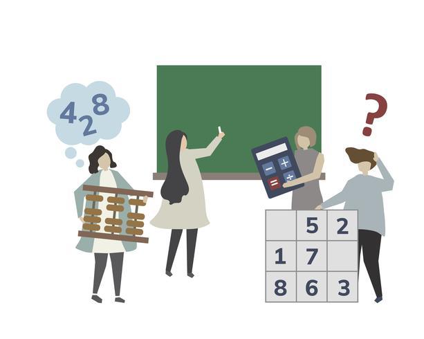Persone in un'illustrazione di classe matematica