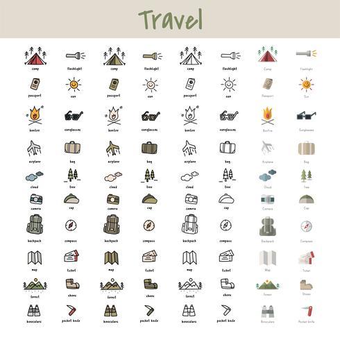 Stile di disegno dell'illustrazione della raccolta delle icone di campeggio