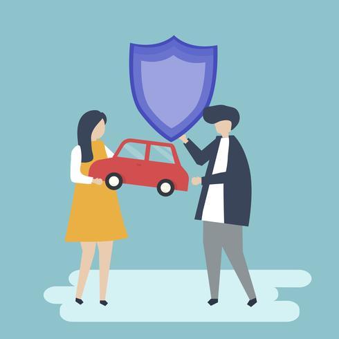 Personnages d'un couple tenant une voiture et illustration de bouclier