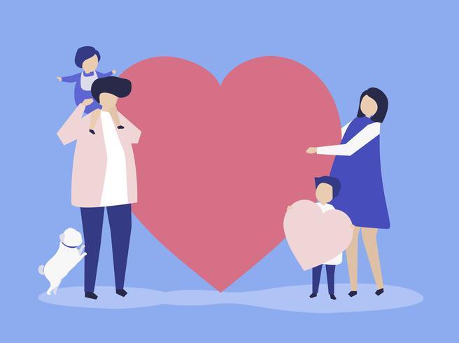 Personajes de una familia sosteniendo una ilustración en forma de corazón