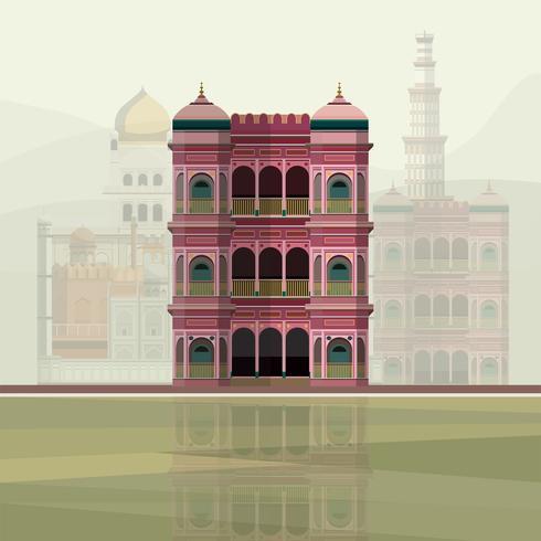 Ilustração, de, coloridos, residência, predios, em, índia
